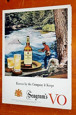 Lovely 1954 Seagrams V.o. Whiskey Ad With Man Fishing - Vintage 50S American
