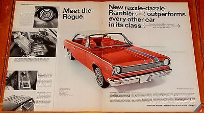 1966 Rambler Rogue Large Vintage Ad + Classic Coupe On Back - American 60S