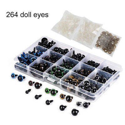 264x Plastic Safety Eyes Toys for Teddy Bear Doll Animal Craft DIY Screws 6-12mm