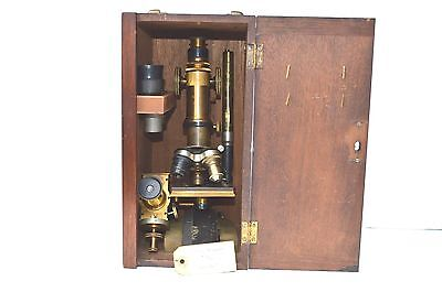 Antique Bausch & Lomb Optical Microscope Original Case & Flashlight