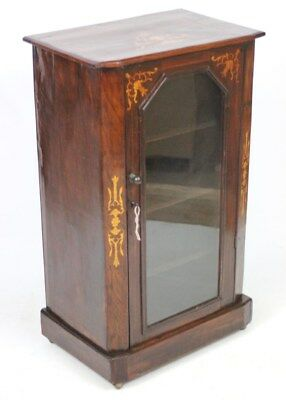 Antique Victorian Marquetry Inlaid Display Pier Cabinet - FREE Shipping [PL3953]