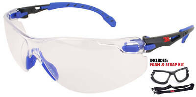 3M Solus Safety Glasses with Blue Temples, Clear Anti-Fog Lens, Foam/Strap Kit