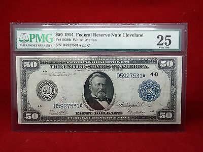 FR-1039b 1914 Series $50 Cleveland Type B Federal Reserve Note *PMG25 Very Fine*