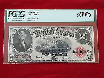FR-60 1917 Series $2 United States Legal Tender Note *PCGS 50 PPQ About New*