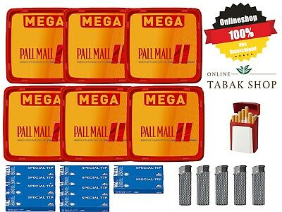6 x Pall Mall Allround Red Mega Box 210g Volumen Tabak, 2500 Hülsen, Etui, 5xF..