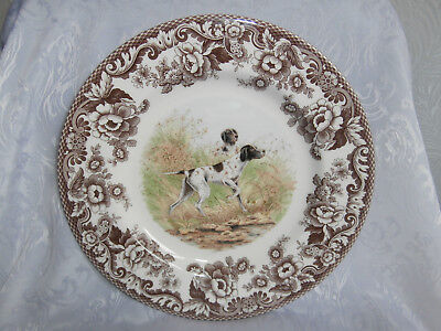 Spode Woodland Hunting Dogs Flat Coat Pointer 10.5 Inch Dinner Plate Brand New
