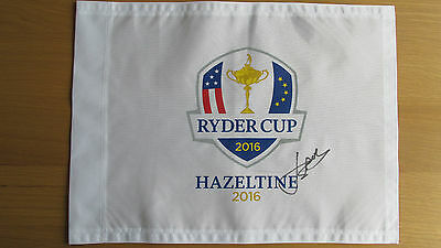 Ryder Cup 2016 Flag Pin signed by JORDAN SPIETH COA/Proof