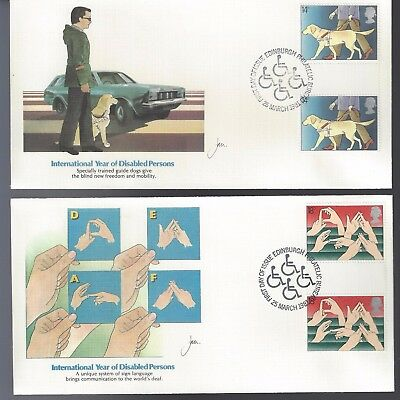 1981 United Kingdom FDC Set of 4 Covers Disabled People Gutter Pairs