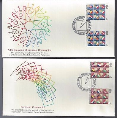 1979 United Kingdom FDC Set of 4 Covers European Community Gutter Pairs