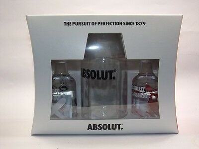 ABSOLUT VODKA Flaska GLASS set 2 x 50ml mini flaschen bottle miniature  bottela