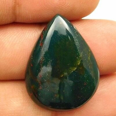 24.55 cts Natural Untreated Green Bloodstone Pears Shape Loose Gemstone Cabochon