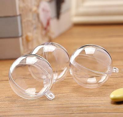 DIY Clear Plastic Craft Ball Acrylic Transparent Sphere Bauble christmas Gift