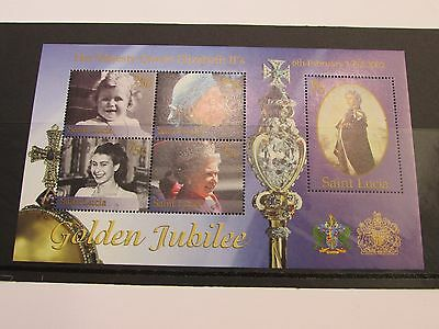 2002 Saint Lucia Golden Jubille Minature Sheet MNH