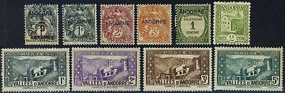 Andorra, 10 different early mounted mint stamps
