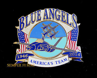#* 2014 Us Navy Blue Angels Us Marines Hat Pin Uss Wing Mcas Nas F18 Br Bhornet