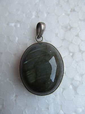 Beautiful Black Stripes Agate Oval Shape Sterling Silver Pendant-Cotton Chain