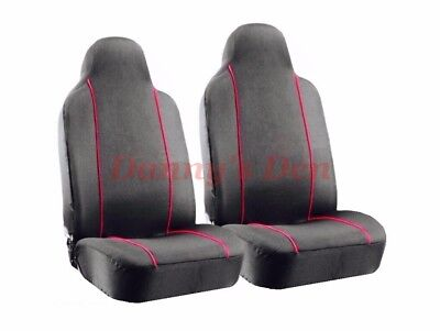 2x Black Red Trim Van Seat Covers Single x2 FOR VOLKSWAGEN VW Crafter Luton