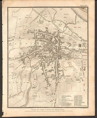 1806  Antique Map -  Plan Of The Town Of Reading, Berkshire, Neele