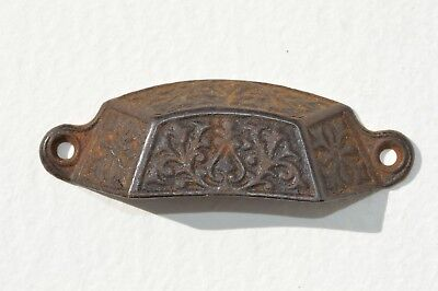 Antique Ornate Victorian Cast Iron Eastlake Furniture File Cabinet Drawer Pull