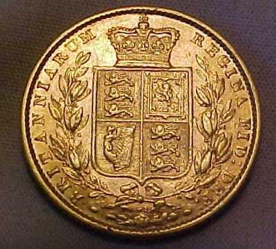 22ct GOLD 1872 VICTORIAN YOUNG HEAD SHIELD BACK FULL SOVEREIGN DIE 97 CIRCULATED