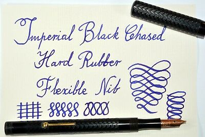 RESTORED Vintage Long Imperial Black Chased Hard Rubber fountain pen; 1920-30's.
