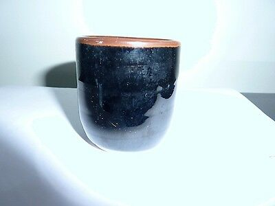 Vintage egg cup -  ceramic high gloss black and brown