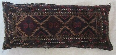 "Antique Large Hand Knotted Pillow Made Out Of Persian Rug 16"" X 36"" Very Heavy"