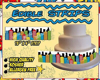 Edible skyline strips for cakes sugar paper frosting images superhero comic book