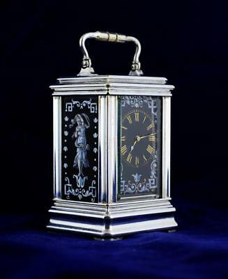 MINIATURE CARRIAGE CLOCK LIMOGES PANELS - Drocourt