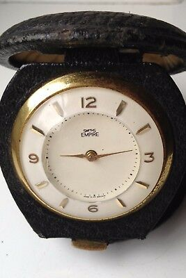 Vintage Smiths Empire Manual Wind Gold Tone Working Travel Clock