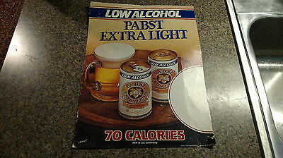 Vintage Pabst Low Alcohol Beer Poster Cardboard Sign Extra Light Blue Ribbon 70s