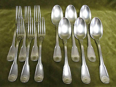 french sterling silver dinner forks soup spoons 1047gr Puiforcat shell 12p