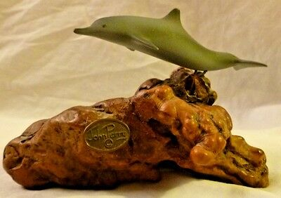 "Single Dolphin on Burlwood Resin Base by Artist John Perry 6"" Wide 4"" Tall"
