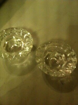 2 French Glass Small Candle Stick Holders