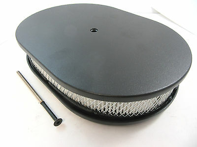 """12"""" Aluminum Oval Black Smooth 4 Brl Air Cleaner With Filter Chevy Ford Mopar V8"""