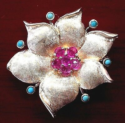 14k Yellow Gold Vintage Flower Pin/Pendant set with Rubies and Turquoise