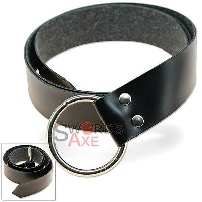 Medieval Belt Simple Steel Ring Costume & LARP Pleather Black