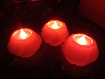 Lot of 3 Polished SELENITE TEALIGHT CANDLE HOLDER w/ LED Candles Morocco 913g