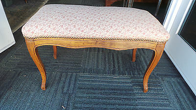 Vintage  Walnut Stool Bench With  Nailheads Original Stuffing