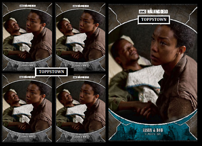 Topps The Walking Dead Card Trader TRAGEDIES Sasha and Bob Gray & Blue Digital