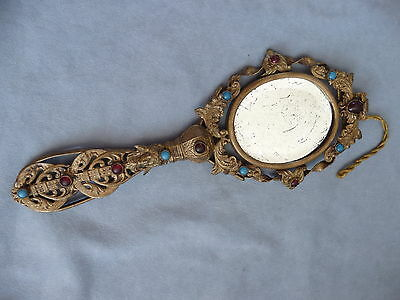 antique french gilt brass ormolu jeweled ornate hand vanity mirror late 19th c