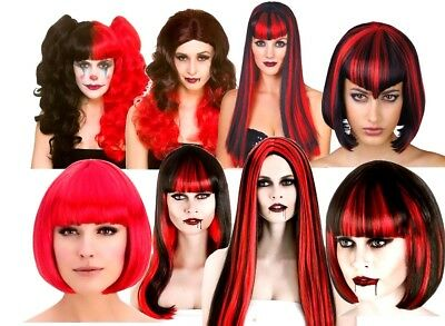 Deluxe RED WIGS Glam Vamp Diva Harlequin Vampire Blood lust HALLOWEEN One Size
