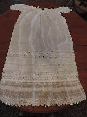 "Antique Victorian Baby Christening Gown Batiste Tulle Lace Embroidery 38"" Long"