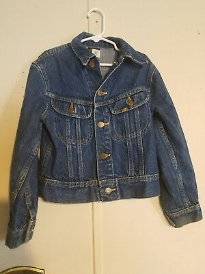 Vintage Lee Kids Youth Denim Blue Jean Trucker Jacket size 10