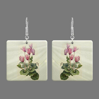 Natural Mother of Pearl Shell Flower Earrings Square Drop Jewelry S1706 0055