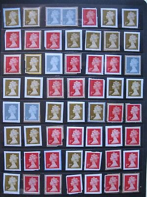 Over 50 X 1St Class Gb Security Stamps. With U.slits. Unmarked.
