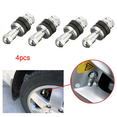 4pcs Tire Valve Stem Chrome Metal Bolt In High Pressure Flush Mount Rear