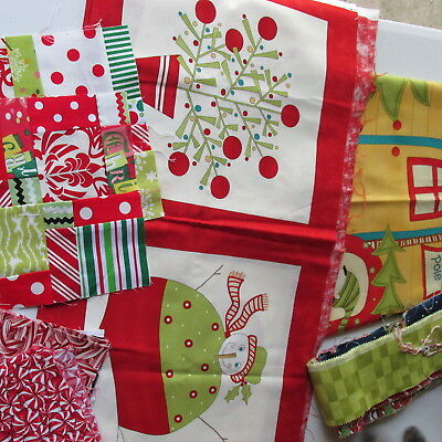LC- Lot Printed Christmas Fabric Quilt Top + 8 printed Blocks + fabric