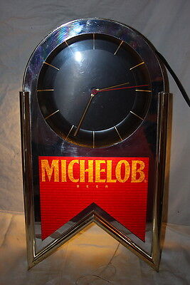 Vintage 1993 Anheuser Busch Michelob Bar Clock & Sign WORKS !