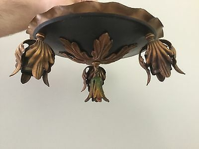 Antique Vintage Art Nouveau Tole Flush Mount Chandelier Ceiling Fixture